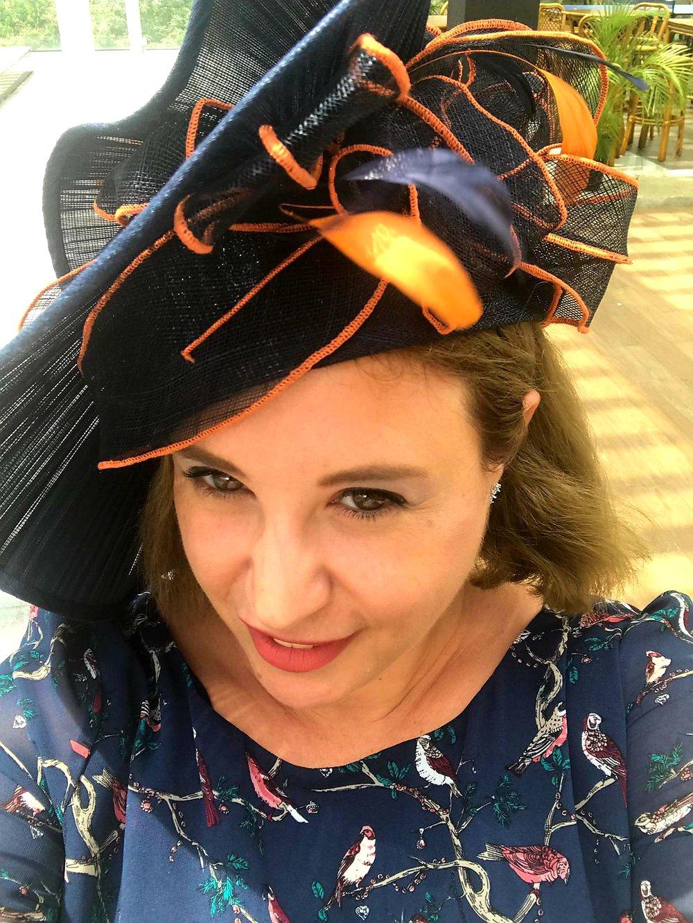 Miriam-orange-marine-feather-fascinator-Thegirlwithahat-melbournecup