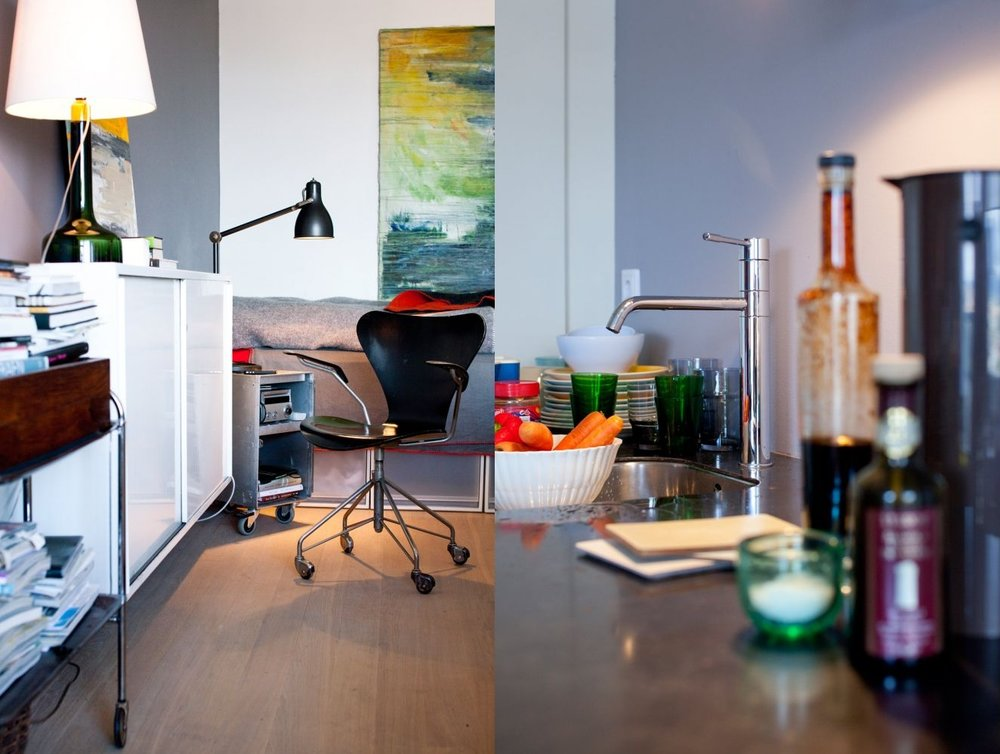 Compact studio apartment kitchen, minimalist and clean storage with optimized use of a small space - Interior design by GARDE. Mads Emil Garde
