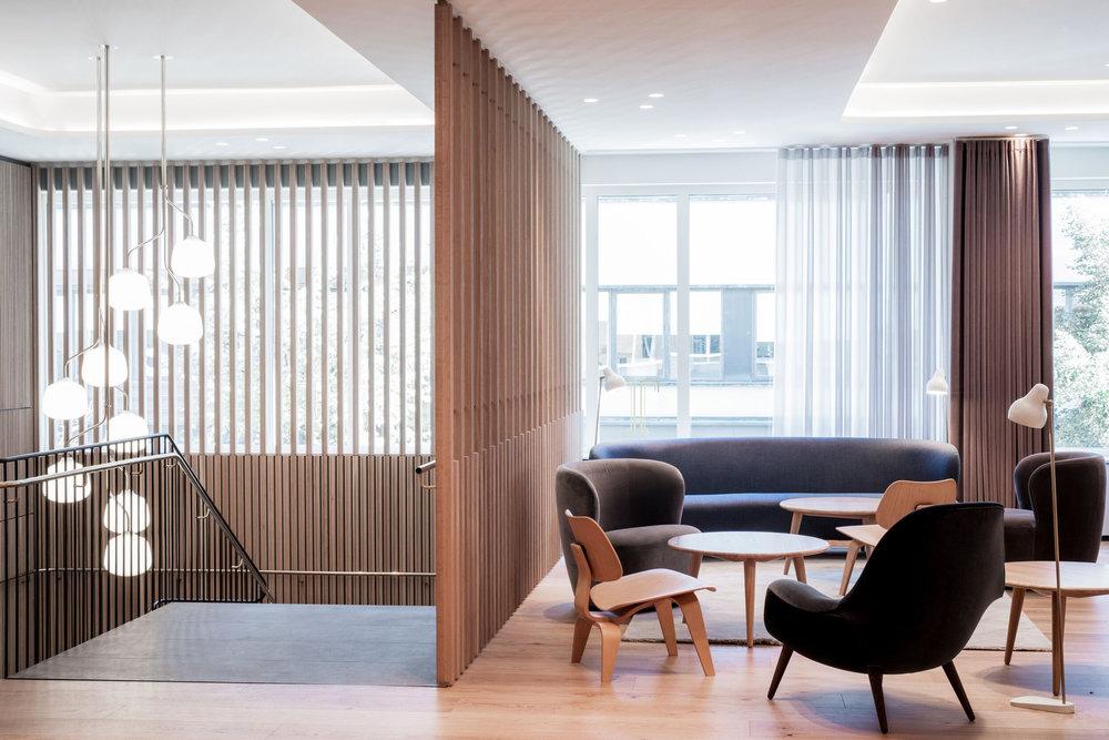 Restaurant Tivander architect drawn staircase, scandinavian interior design and furniture