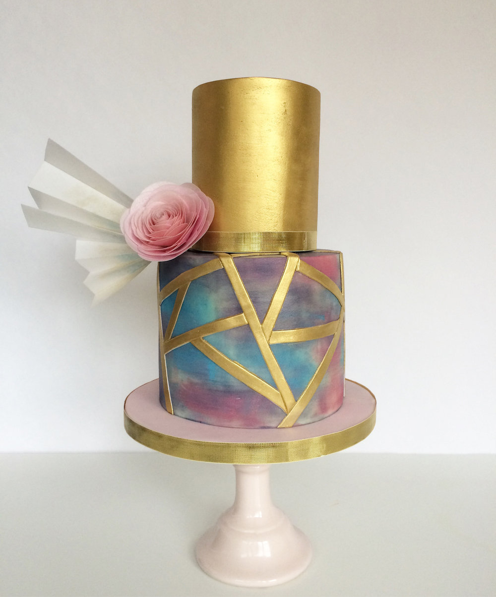 Malarkey Cakes watercolour and gold wedding cake.jpg
