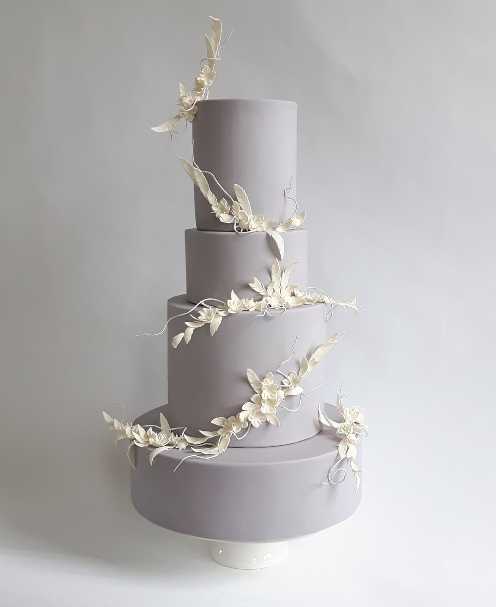 Midwinter Botanical four tier wedding cake by Claire Owen Cakes 2017.jpg