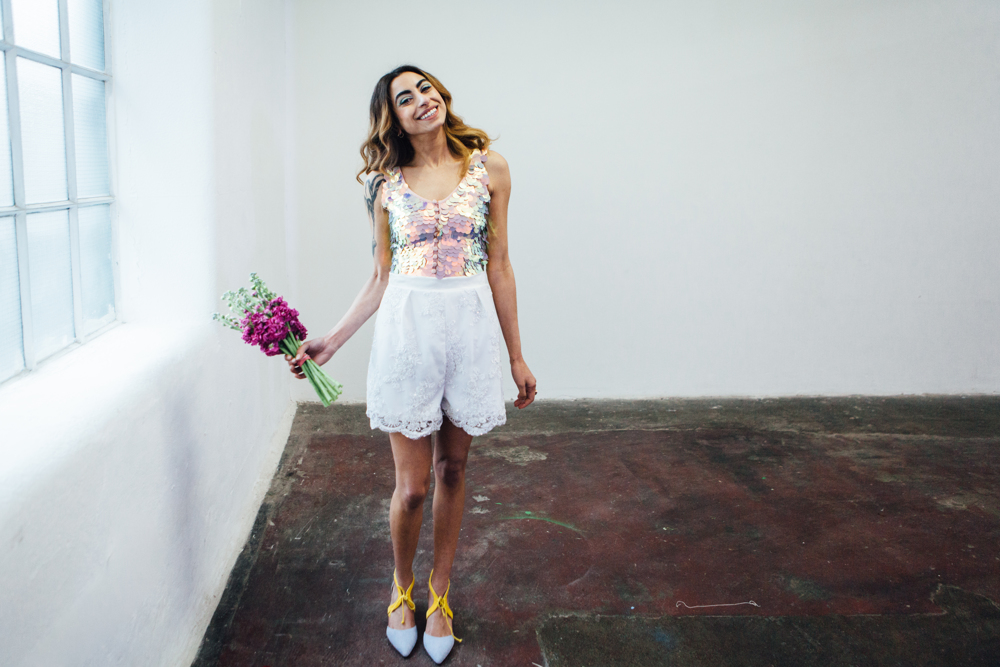 HEIDI in shorts by  Velvet Johnstone , leotard by  Rosa Bloom &shoes by  Faber Novella Bouquet by  The Floral Editor