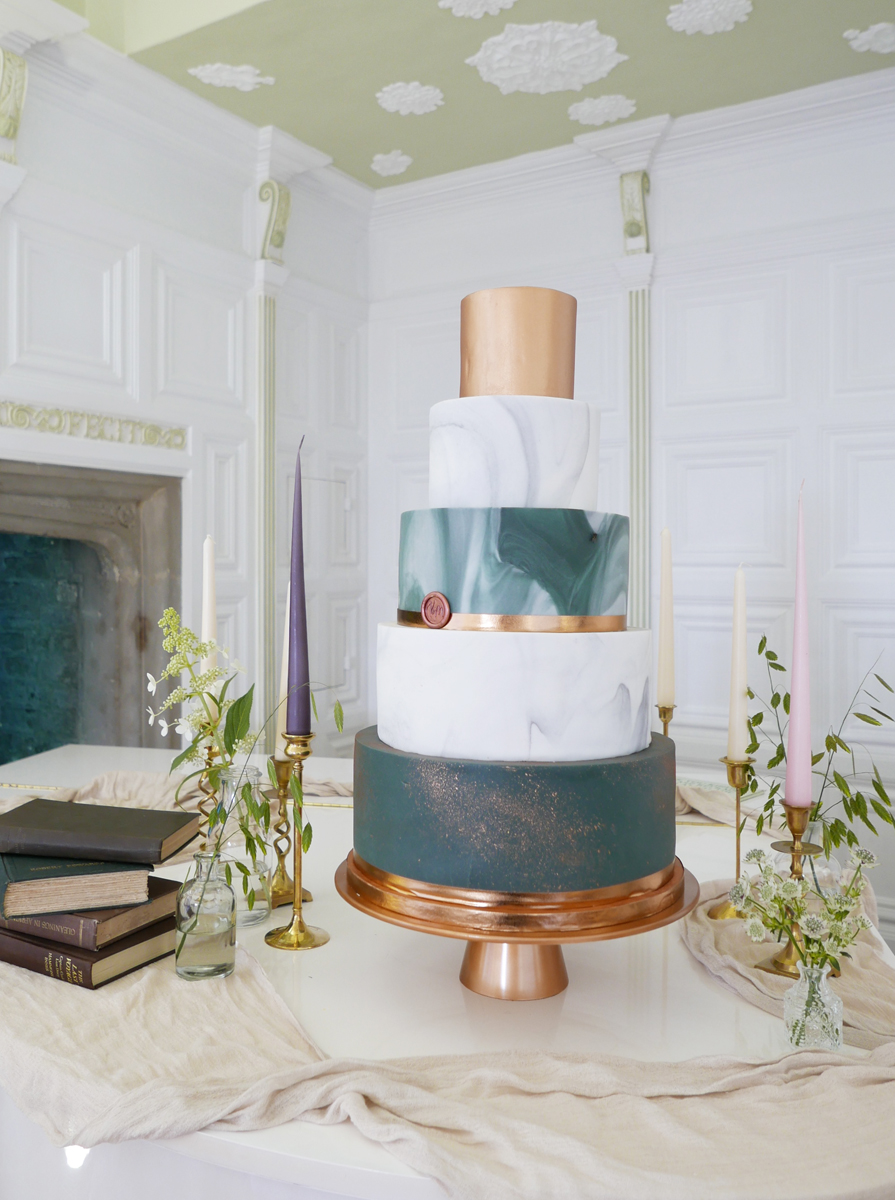 Malarkey Cakes Green and grey marble and copper wedding cake.jpg