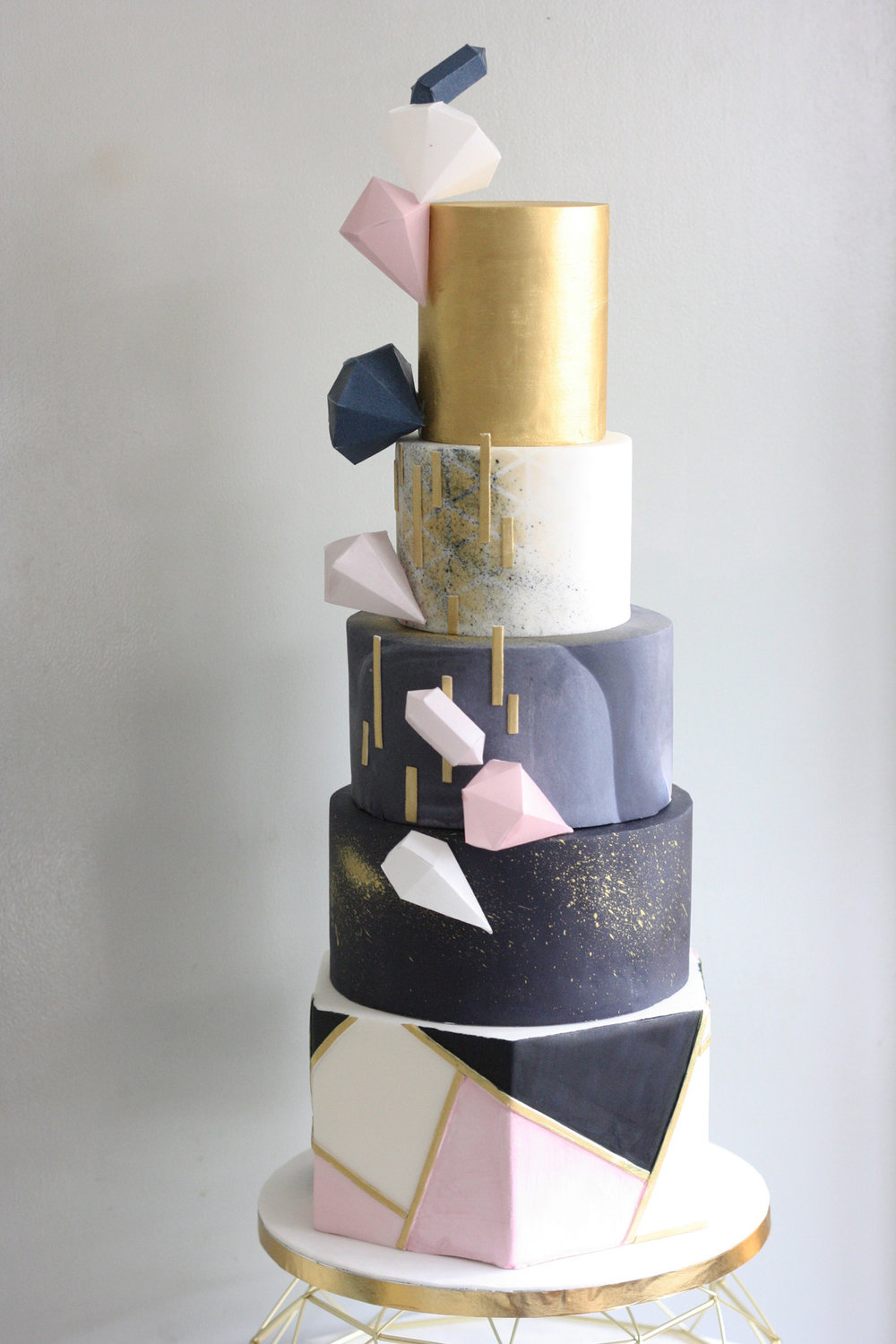 Malarkey Cakes Pink navy and gold geometric wedding cake.jpg