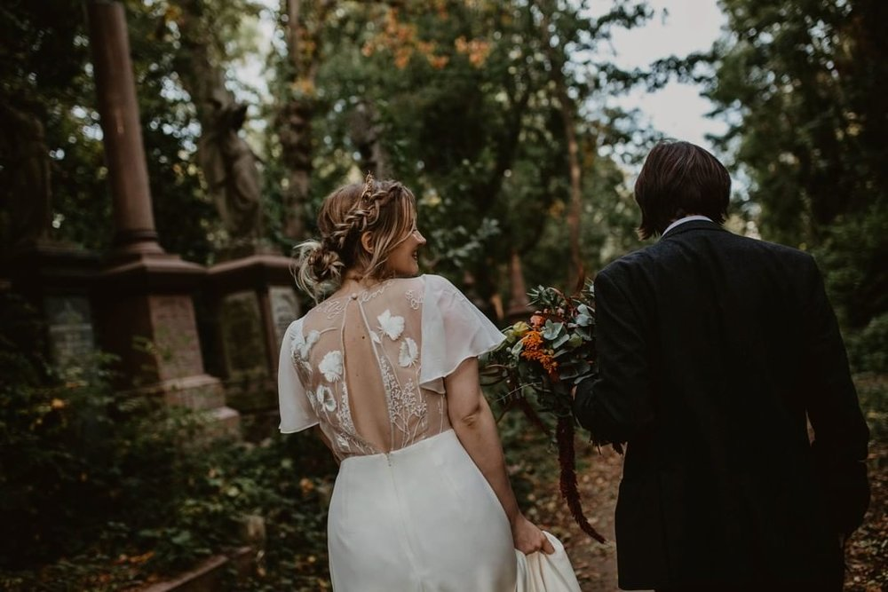Sophie wears 'Delilah' by  Story of My Dress , personalised with Lily of the Valley flowers to represent her Granny.  Photography by    Camilla Andrea Photography