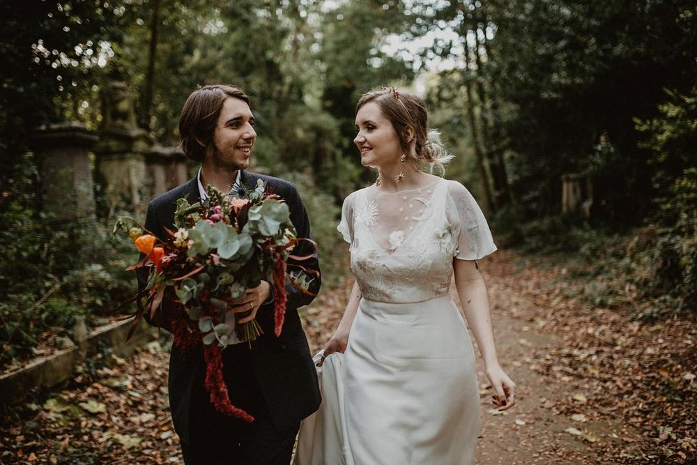 Sophie wears 'Delilah' by  Story of My Dress , personalised with embroidery to represent special people and memories.  Photography by    Camilla Andrea Photography