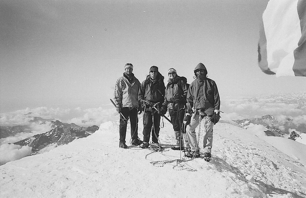 Francis Jacquerye (far right), Monte Rosa, 4554 metre (14941 ft.) above sea level.