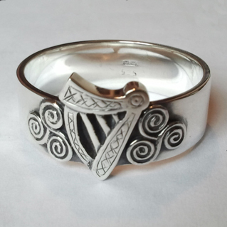 Sterling Silver Celtic Harp Ring