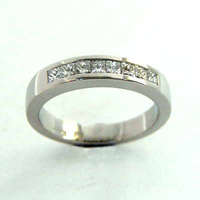 Platinum Channel Set Wedding Band