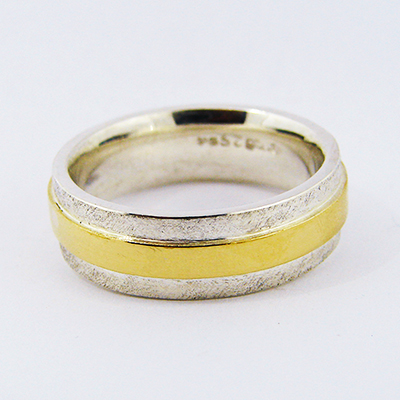 Gents Wedding Band Sterling Silver 18ct Yellow Gold.jpg