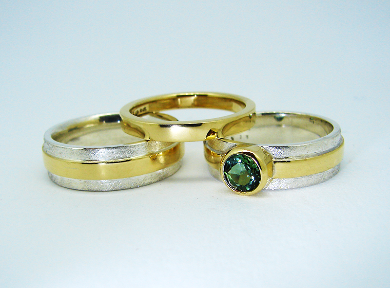Green Tourmaline Engagment Ring, Ladies and Gents wedding band.jpg