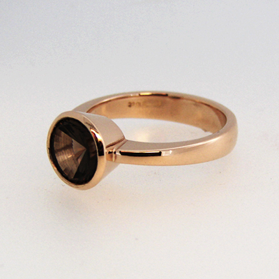 Rose Gold and Smokey Quartz Concave Cut Stone Tapered Shank.jpg