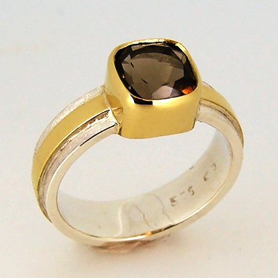 Smokey Quartz Cushion Cut Ring Sterling Silver 18ct Yellow Gold.jpg