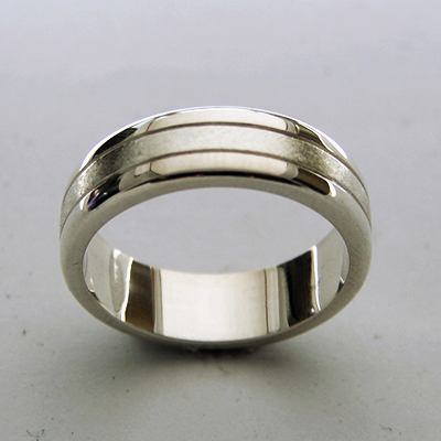 Sterling Silver Wedding Band Textured and Lined.jpg