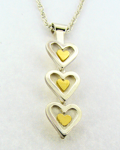 3 Hearts Pendent Sterling SIlver 18ct Yellow Gold.jpg