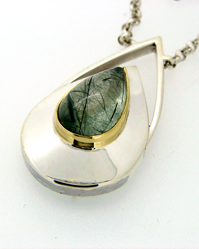 Dew Drop Pendent Actinolite Sterling SIlver 18ct Yellow Gold.jpg
