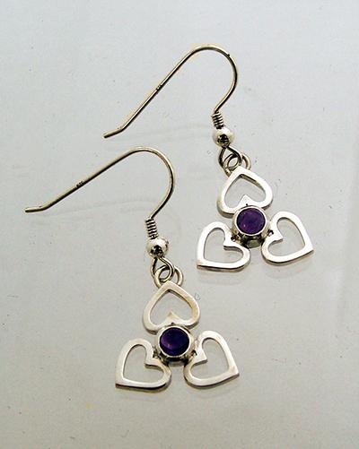 Amythest Heart Drop Earrings Sterling Silver.jpg
