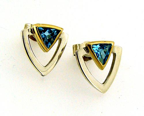 Blue Topaz Soft Triange Sterling SIlver 18cy Yellow Gold Earrings.jpg
