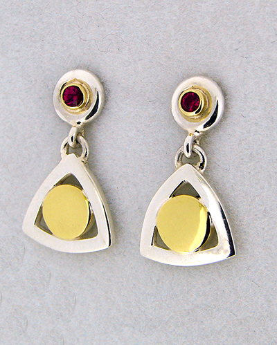 Ruby 18ct Yellow Gold and Sterling Silver Drop Earrings The Golden Centred Ones.jpg