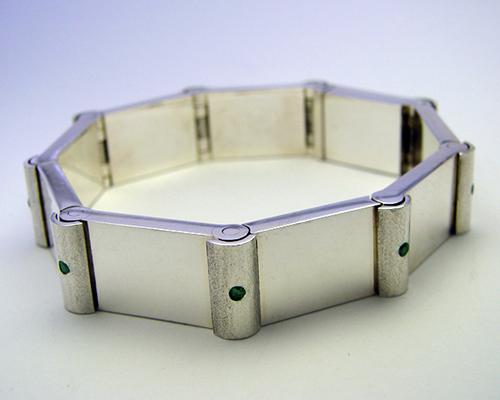 Hinged Braclet Sterling Silver Green Diamond.jpg