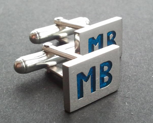 MB Blue Cufflinks Sterling SIlver Blue Enamel.jpg