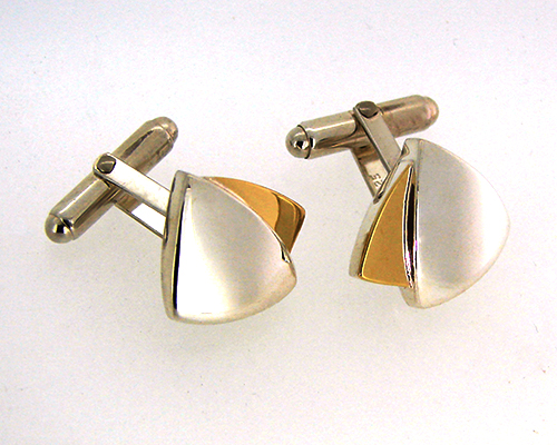 Sail Cufflinks 18ct yellow Gold, Sterling Silver.jpg