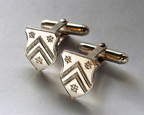 Wickham Family Crest Cufflinks Sterling SIlver Hand Engraved.jpg
