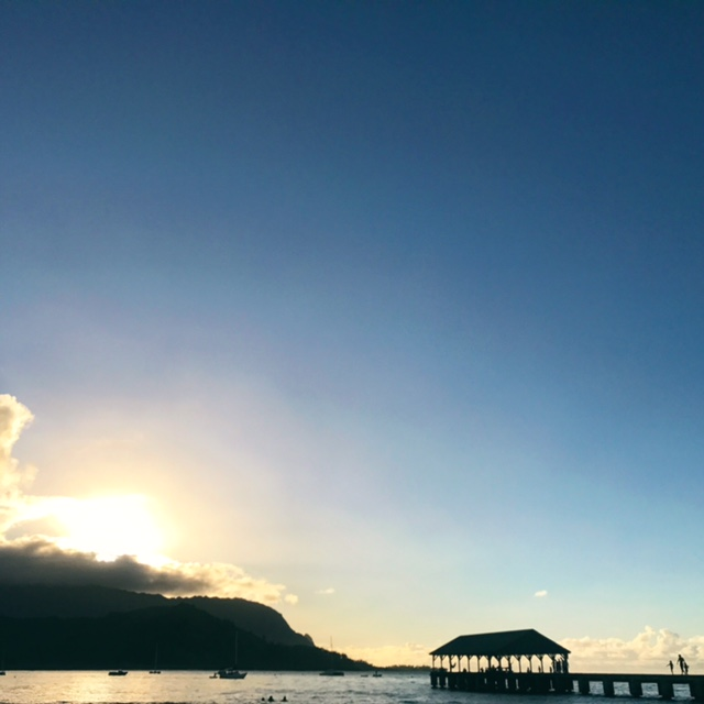 Hanalei Bay Pier at sunset.