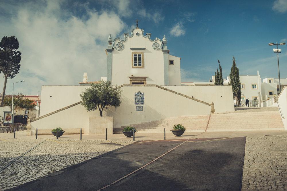 Old town center in albufeira. church on albufeira. old style church in the old town center in albufeira..jpg