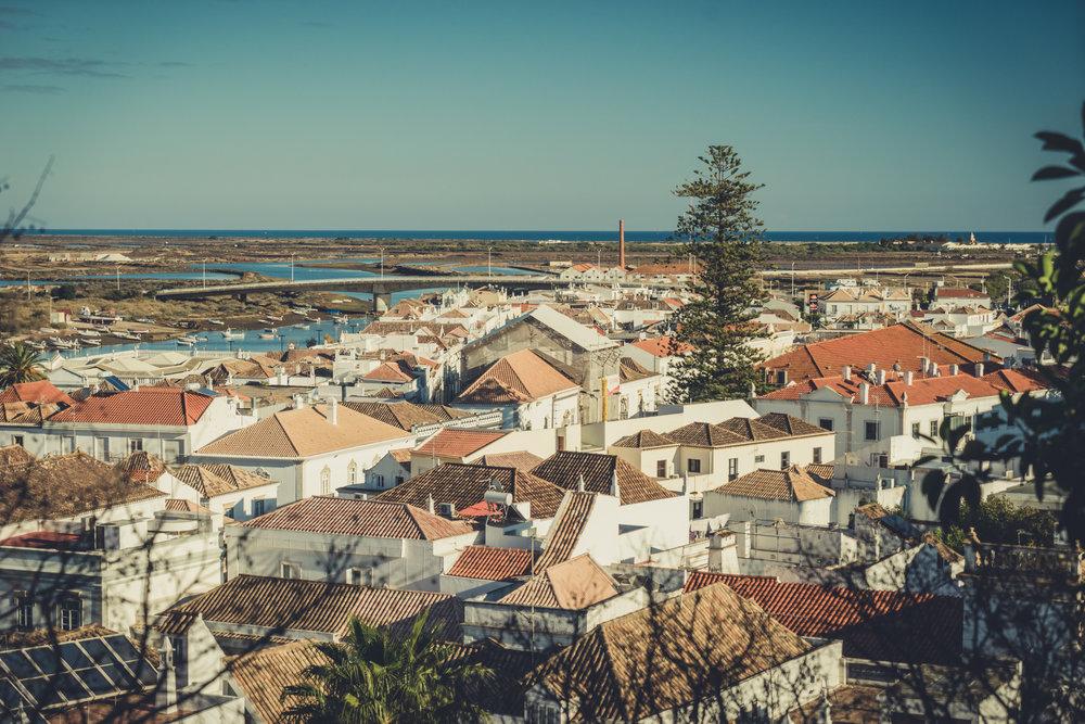 Tavira Roman Bridge. Old town Tavira. Street scene in Tavira. Algarve. over looking the town.JPG