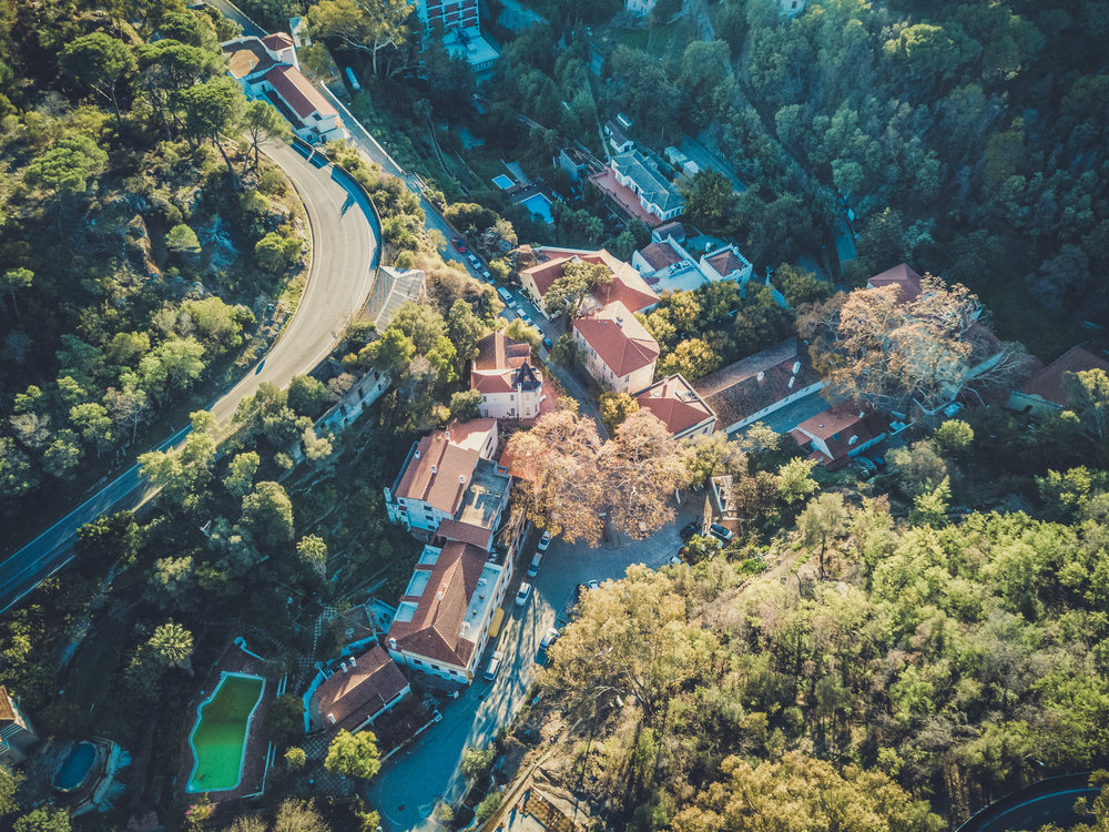 caldas de monchique portugal. drone shot. top down view of spa. spa in the forest. beautiful..jpg