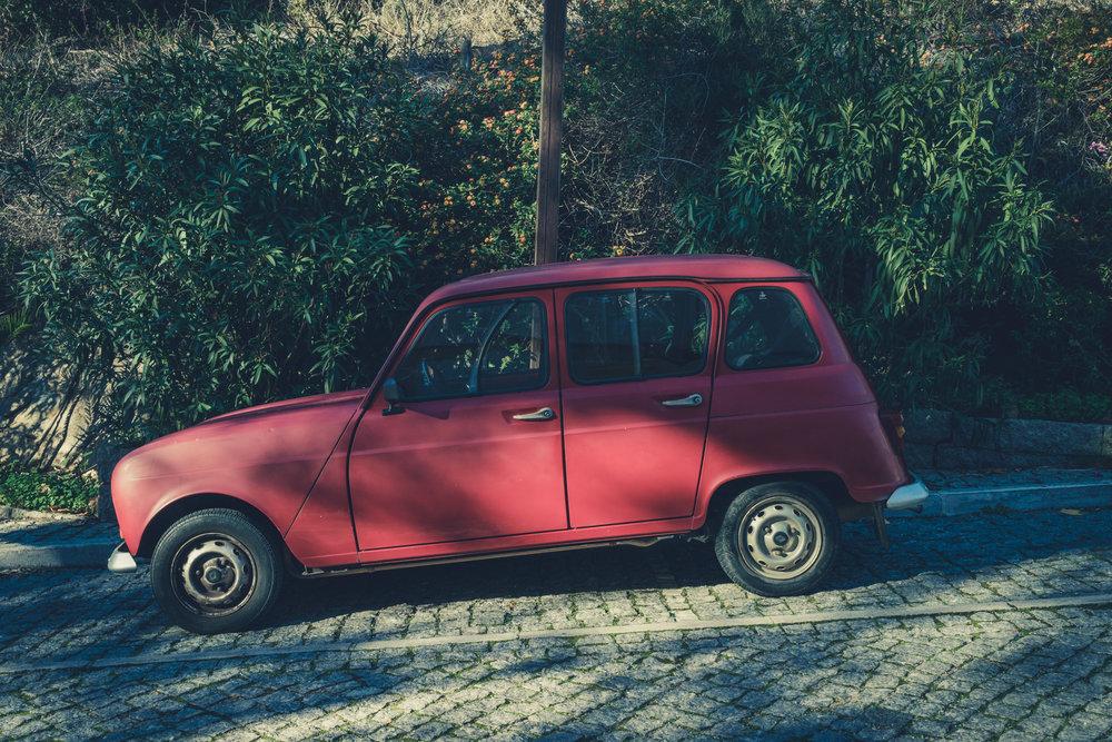 caldas de monchique portugal. old time car. red car..jpg