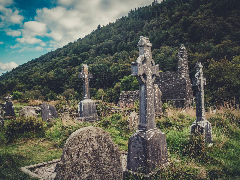 glendalough. irish history. county wicklow. round tower. hill walknig. hiking. grave yard. wildlife. tombstones. lakes. blue sky..jpg