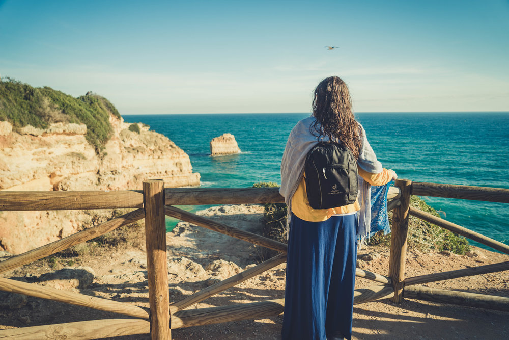 Marinha Beach. Seven Hanging Valleys Walk. portugal. algarve. beach. cliffs. tavel. caves. standing over the beach. girl. beachlife.jpg