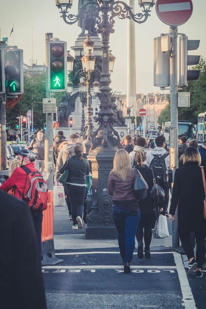 Dublin. Dublin city. street photography. ireland. travel. travel photography. photowalk. walking. people. street. art. on the street.  looking down the street.jpg