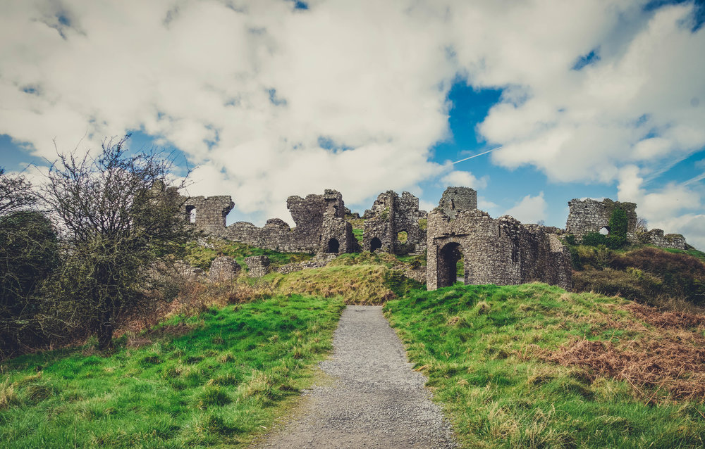 Ireland. Castle. Old castle. irish history. history. Rock of Dunamase. blue sky. rock. pathway. adventure. travel..jpg