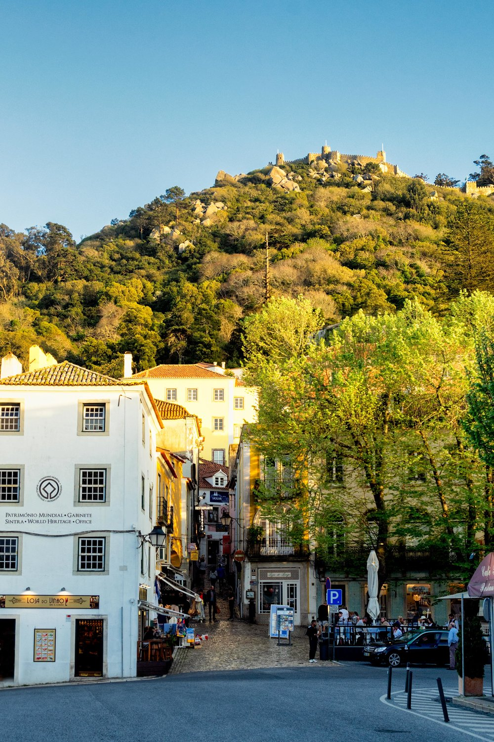 Portugal. Travel. Sintra. Sunshine. Hotel. History. view. room with a view. pena palace.  palace. town. old town. castle. castelo dos mouros. view of the town.jpg