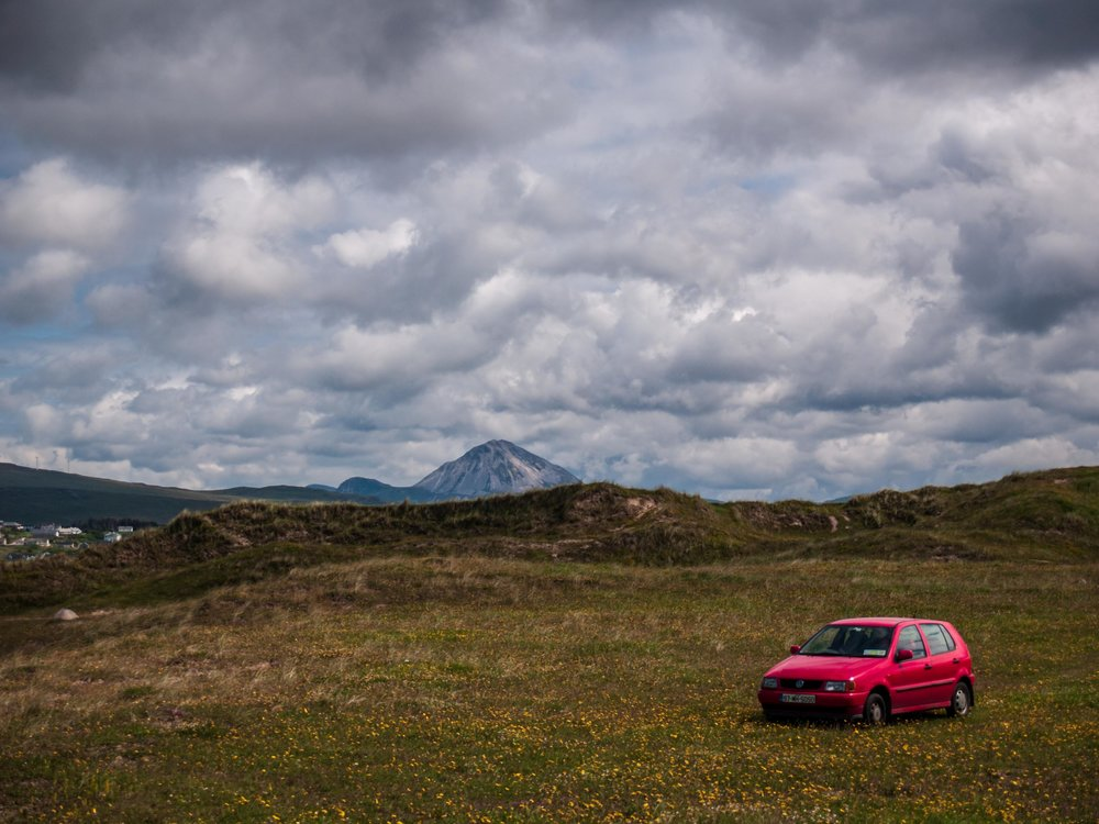 mount errigal with red car