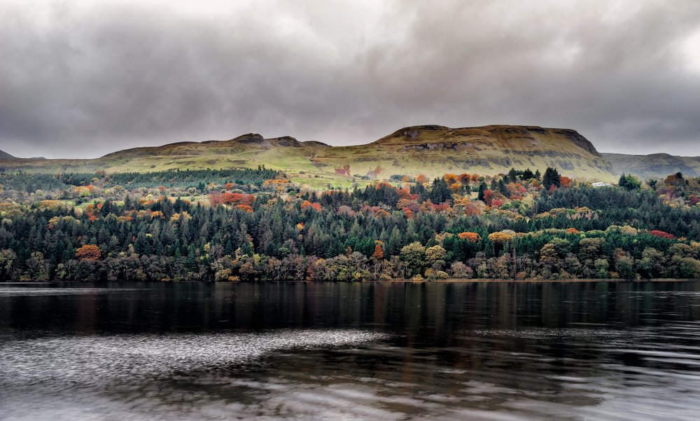 fall colour in Ireland. looking across a lake with the fall colours on the trees