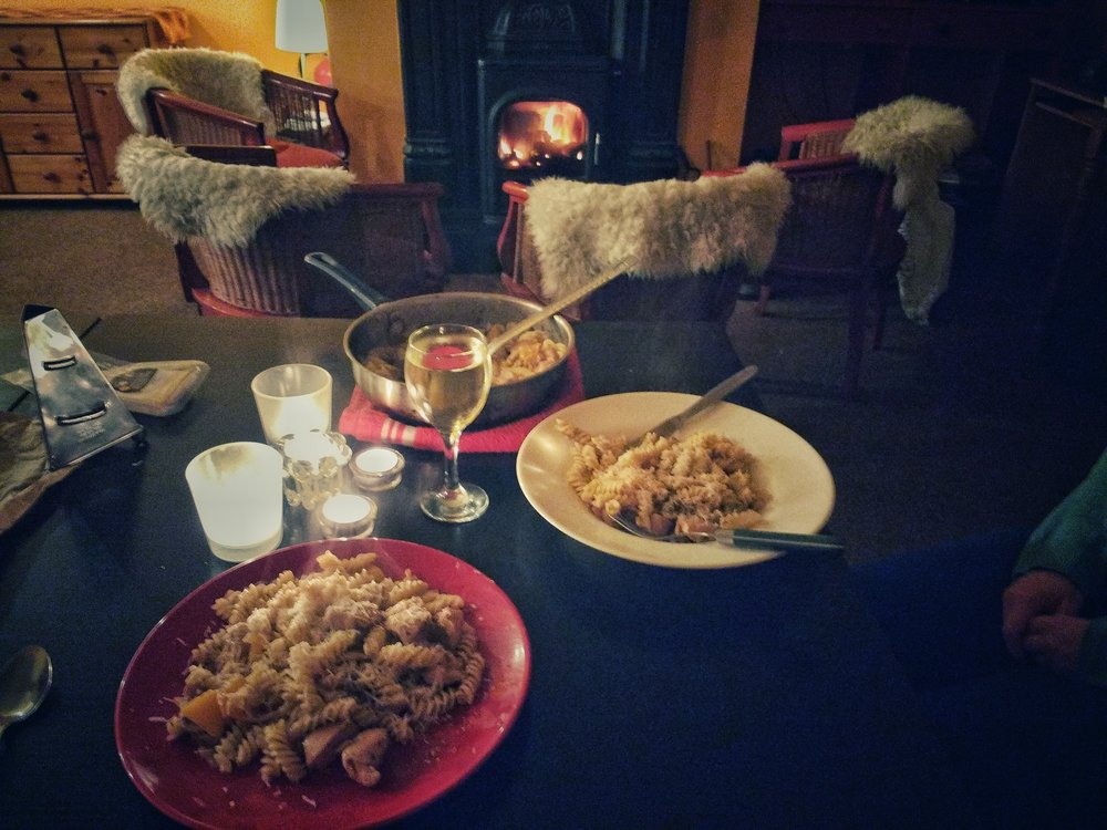 pasta dinner by the fire side