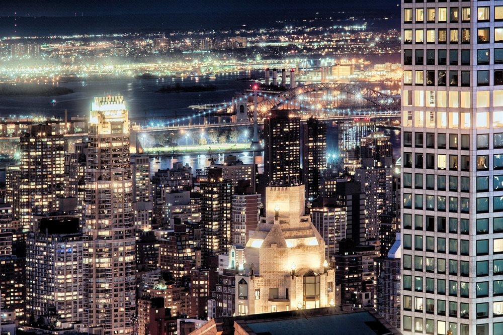 High view over looking Manhattan skyline at night