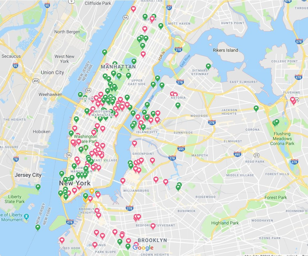 Google map view of all the markers we made for the trip to New York