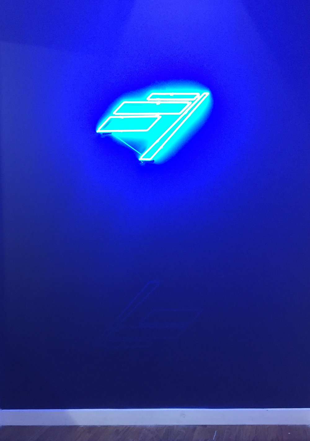 Neon logo installed in lobby