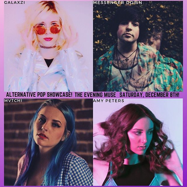 ⚡️ALT POP SHOWCASE⚡️at the @eveningmuse on Saturday December 8th in Charlotte NC.  With alt-pop artists: @messengerdown @amypetersmusic @mvtchi @iamgalaxzi  JUST ANNOUNCED! We would love to cya there⚡️✨