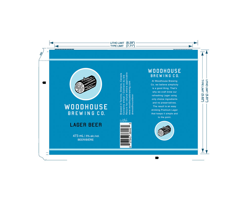 Woodhouse Brewing Co. , 2014 Layout design for beer can © Andrew Watch