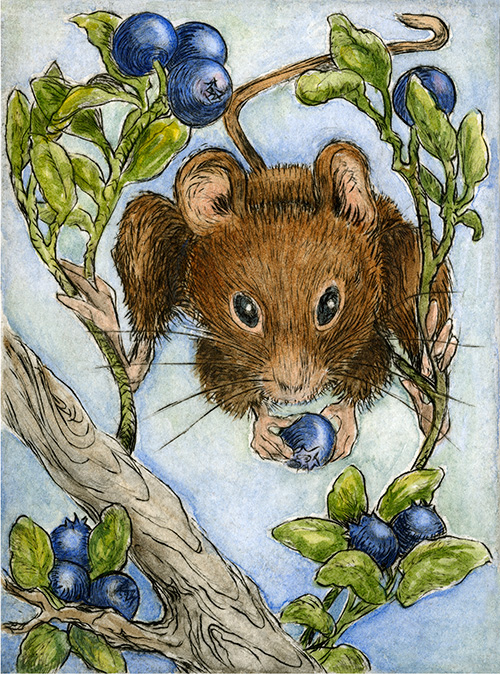"""Peek a Blue""  - I find mice adorable. IF it is me who sees them first, not the other way around. It's not that I am afraid of them, they just have a way of sneaking up on a person that makes me jump. More often, I think it is probably more of a mutual startling. The ol' ""What in the heck are YOU doing here,"" kind of moment.  Rather like when I forget that my husband, Jim, is home. Just by walking into the room, he can scare the bejeezas outta me. I'll jump and say, ""Don't DO that!"" He'll look at me like I'm a lunatic, ""I just wanted the scissors,"" he'll allege innocently, backing away. As if."