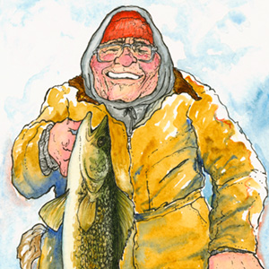 Arvid & Walter - I saw this photo in the paper years ago.Arvid Magneson was the fisherman's name. He struck me as the quintessential Minnesotan ice fisherman; Carhart suit, exposed skin red-raw from sub-zero temps, strong Scandihoovian jawline, winning smile as he holds a trophy walleye.