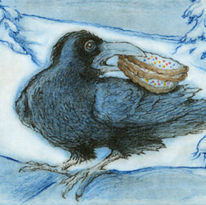"Raven's Sweet Tooth - A few weeks after the holidays, it becomes time to throw the stale Christmas cookies out into the compost bin. I knew the ravens would sweep in moments after I dumped them into the compost. Around here we call the compost bin ""The Raven Feeder."" I watched from the kitchen window as a single Raven landed. He carefully stacked three sugar cookies in his beak, flew off, and returned moments later. I watched him fly around to the front of the house, where he landed high up in a tall Spruce tree. He disappeared into the branches, then popped back out and returned to the pile. Back and forth he flew these mission trips until there were no cookies left.  Now here's the funny thing. Ravens do cache (stash) their food. They are also known to share. However, Mr. Sweet-tooth evidently luvs him sum cookies. It so happens that the Spruce tree is just outside my living room window, across from my reading chair. For weeks, that raven would show up in late afternoon, disappear into his hidey-hole and have himself a cookie break. Always alone. Some things are just too good to share."