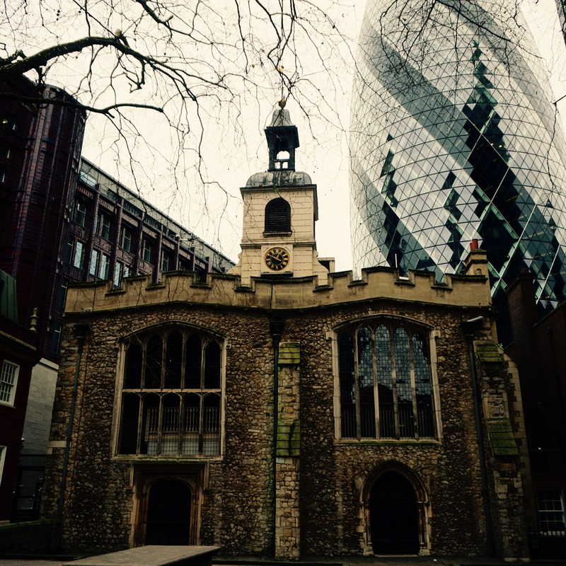 """""""You owe me ten shillings"""" say the bells of St. Helen's...   The church of  St. Helen's Bishopsgate dates from the 12th century and a priory of Benedictine nuns was founded there in 1210. It was one of only a few the City churches which survived the Great Fire and the Blitz. However in 1992 and 1993 the church was badly damaged by two IRA bombs that were set off nearby. One of the City's largest medieval stained glass windows was shattered and many monuments were destroyed. The church has since been restored. Nearby money lenders are referenced in the rhyme with the line ' You owe me ten shillings '."""