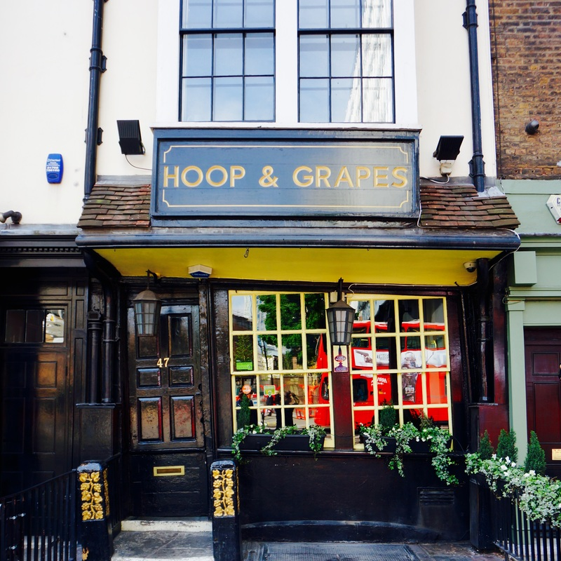"""Hoop & Grapes, EC3N  The Hoop and Grapes is Grade II* listed and English Heritage note that it was probably built in the late 17th century, and that it is """"a type of building once common in London but now very rare."""""""